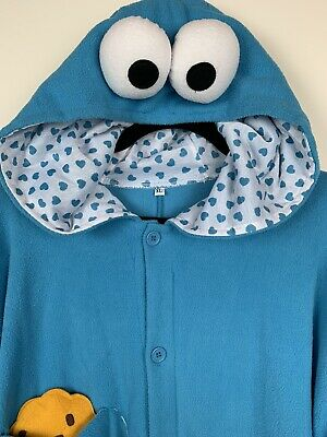 Cookie Monster Halloween Costume Adult One Piece Jump Suit XL Sesame Street
