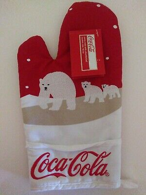 Coca-Cola Pot Holder (Oven Mitt)  licenced with three white bears New