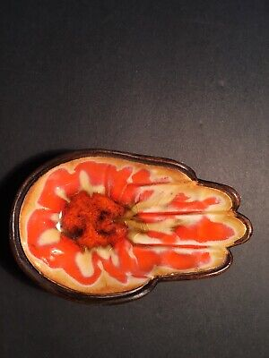 Vintage 1962 Treasure Craft Flame Orange Hand Trinket Dish