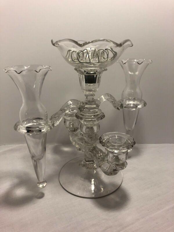 Vintage Cambridge Glass Candlestick Holder w / 2 Epergne Vases