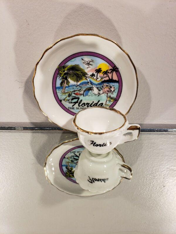 Vintage Mini Tea Cup and Saucer Set -Florida State Souvenir Set -No Box