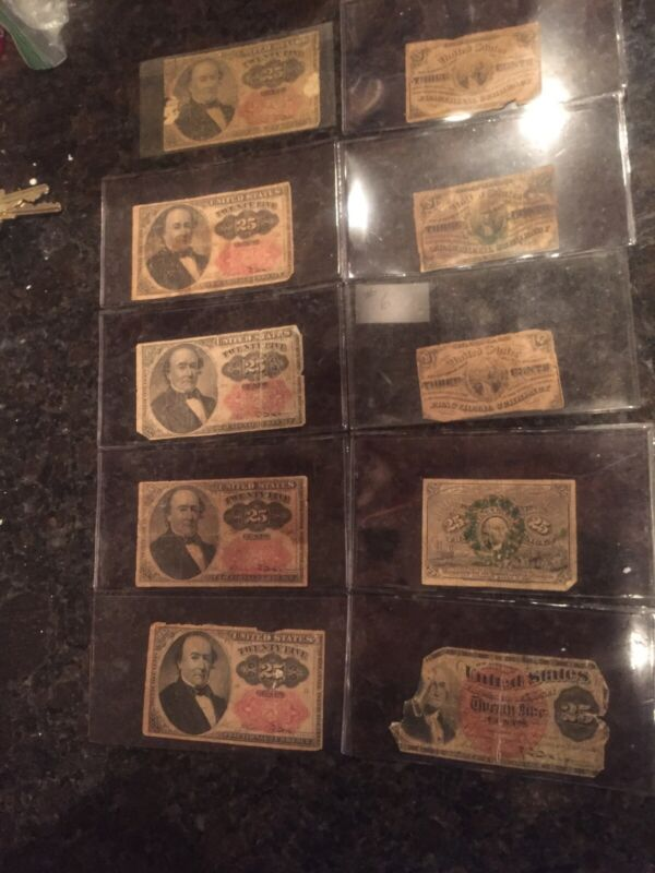 Lot of 10   (7) Fractional Currency Seven 25 Cent And  (3) 3 Cent