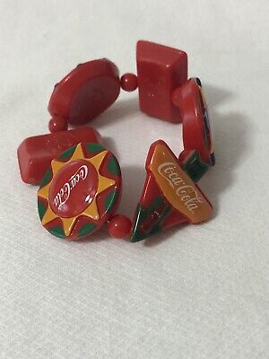 Coca Cola Bracelet Large Charms Stretch Original Packaging Plastic Italy NIB