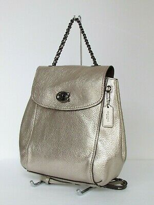 Coach Parker Convertible Backpack Platinum Leather 38584