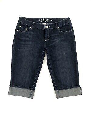 Mossimo Womens Juniors Capri Crop Cuffed Denim Jeans Pants Stretch Size 11 Cuffed Denim Crop Pants