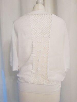 Italy Mode Shirt weiss mit Spitzeneinsatz Rücken 36 38 Häckel Spitze Ibiza Top , gebraucht gebraucht kaufen  Neuss