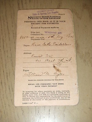 Vintage 1938 Security First National Bank Payment Book Los Angeles California Ca