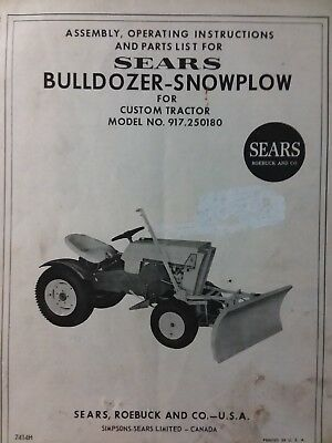 Sears Custom 6 7 XL 917 250180 Tractor Bulldozer Push Blade Owner & Parts  Manual