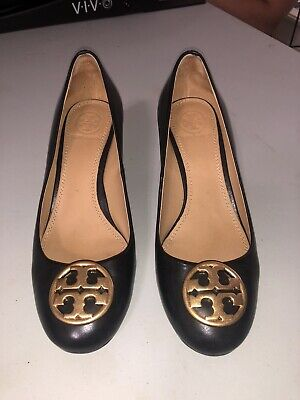 Tory Burch Black Leather Round Toe Wedge Heel Pumps Size 6 M