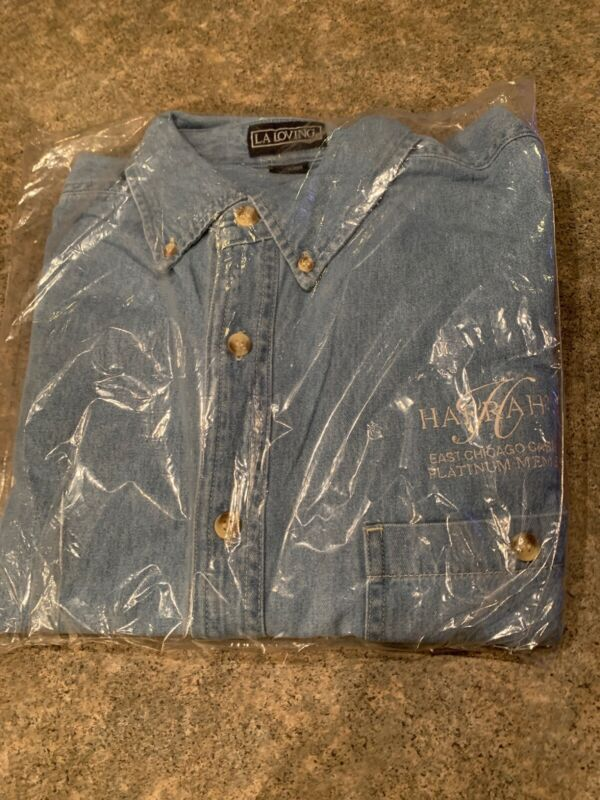 Harrahs Casino Size Large Denim Shirt,East Chicago Platinum Member,NEW Unused.