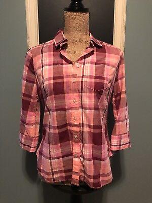 Women Ps Plaid Button Down Shirt 3 4 Sleeve Jcp