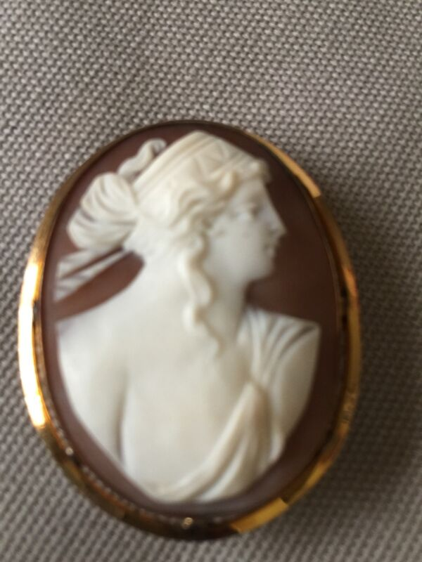 Shell Cameo Pin/Pendant Yellow Gold-Filled Frame Vintage
