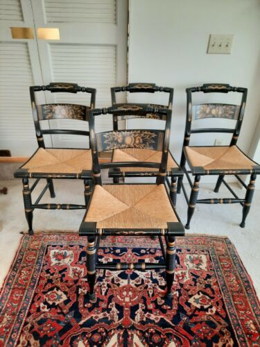Set of 4 Black Hitchcock Chairs Rush Seat Gold Leaf Harvest Design