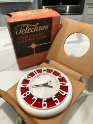 Vintage General Electric  Wall Clock Telechron Red/White Model 2H45 in box