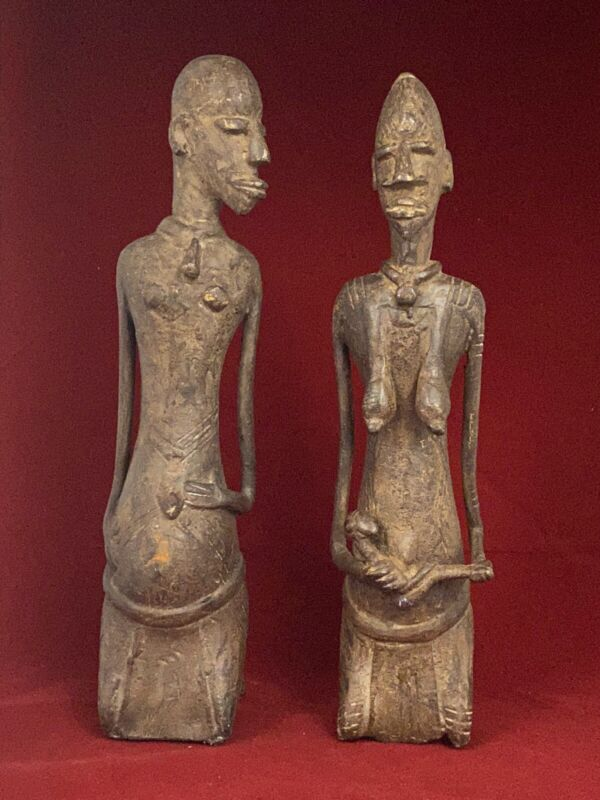"""Pair 11"""" Antique AFRICAN Bronze Maternity FERTILITY Statues DOGON Tribe Mali"""
