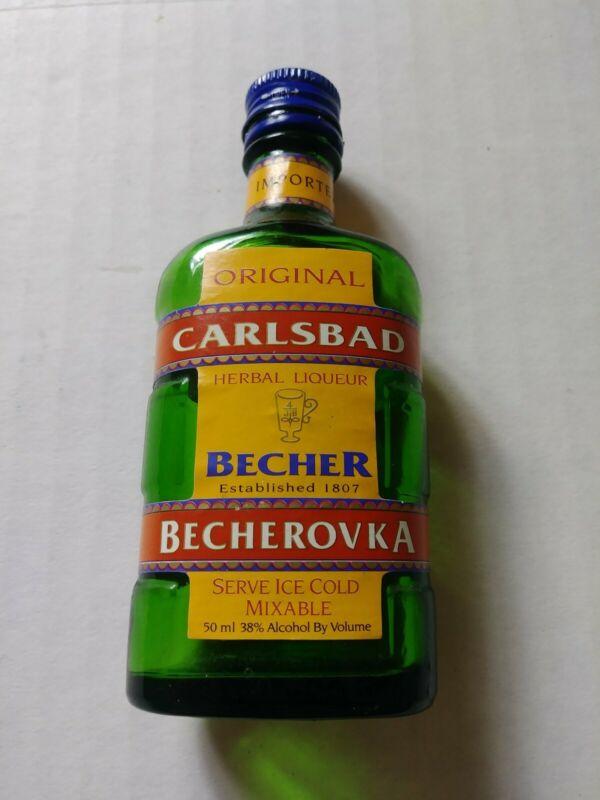EMPTY Vintage Carlsbad Becher Herbal Liqueur Mini Miniature Bottle