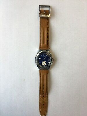 SWATCH IRONY MEN'S CHRONOGRAPH SINGLE SECONDS LEATHER BAND BLUE FACE AG 2006