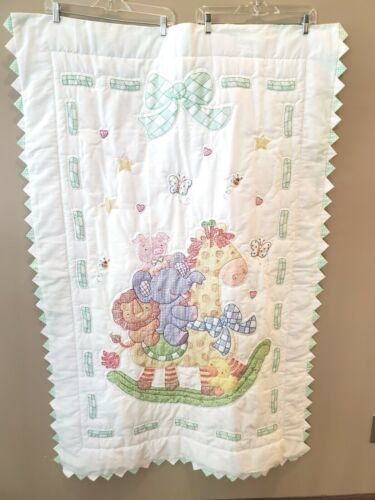 """Finished Cross Stitch Baby Quilt Blanket Comforter Green Gingham Animals 58""""x38"""""""