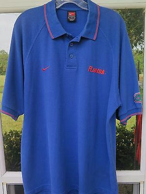 Nike Team Short Sleeve Cotton Blend Florida Gators Blue Coaches Polo Shirt Large