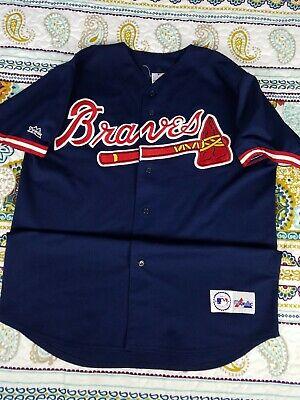 Atlanta Braves Majestic Vintage Baseball Jersey Mens Sz XL Blue Throwback  90s Throwback Blue Majestic Baseball Jersey