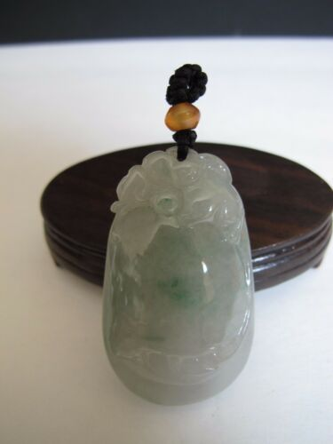 100% Natural type A icy jadeite jade bat and coin pendant C0007
