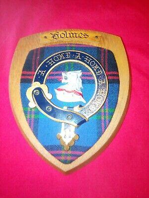 Vintage Old Scottish Carved Oak Clan Name HOLMES Tartan Plaque Crest Shield