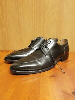 Santoni Mens 10.5 D Black Leather Lace Up Square Toe Derby Dress Shoes - Italy