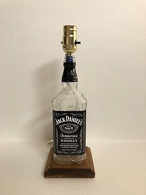 Jack Daniels Bottle Lamp!  Jack Daniels Whiskey, Wooden Stained Base, used for sale  Vacaville