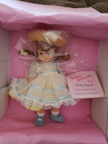 NEW MIB MADAME ALEXANDER 8 POLLY PIGTAILS MADC 1990 CLUB DOLL SO CUTE OUTFIT - $37.56