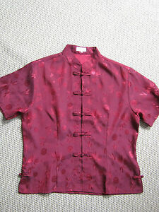 Thai-Duong-deep-red-embroidered-silk-blouse-UK-Size-XXL-38-chest