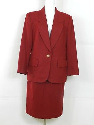 (Le Suit Womens Skirt Suit 12 100% Wool Red 2 Pc Career Work)