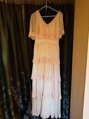 vintage bohemian bridal gown 1970s