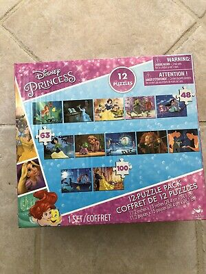 Lot 12 Disney Princess Puzzle Set NIB 12 puzzles in 1 Snow White Cinderella Arie