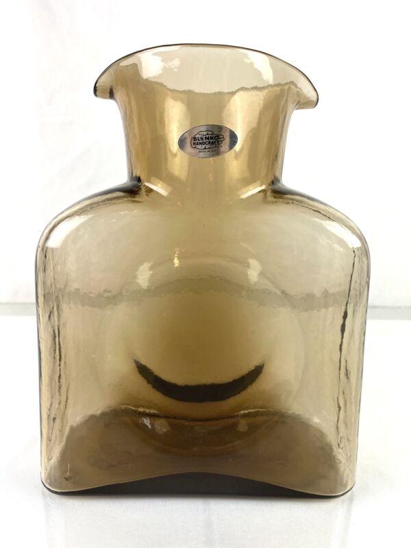 "Blenko Glass 384 Water Bottle in ""Bronze"" Signed"