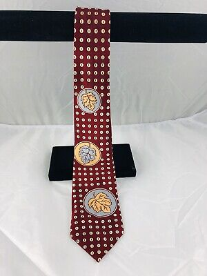 1940s Mens Ties | Wide Ties & Painted Ties Vintage 1940's Tie Silk Red With Leaves And Button Motif Deluxe $25.38 AT vintagedancer.com
