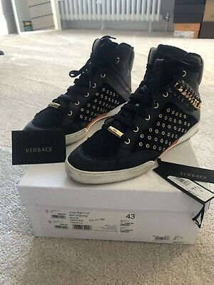 GENUINE VERSACE HIGH TOP Black TRAINERS SIZE EUR 43 Size 9-9.5 Uk