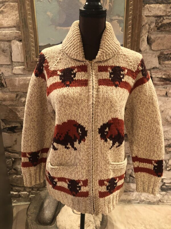Incredible Vintage Cowichan Style Western Buffalo Sweater Size S