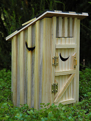 Miniature Dollhouse FAIRY GARDEN Furniture ~ Natural Wood Outhouse w/ Moon ~ NEW, used for sale  Shipping to Canada