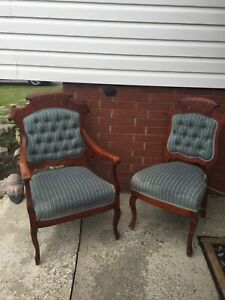 Antique His & Hers parlour chairs