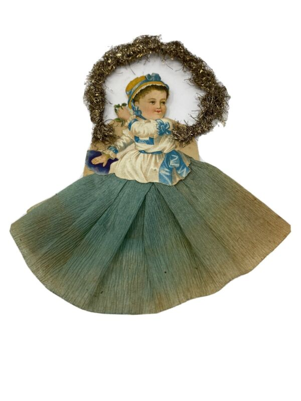 Rare Crepe Paper Baby Victorian Tinsel Die Cut Ornament Christmas