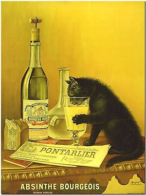 "Used, Vintage Alcohol Ad- Cat Absinthe Bourgeois Canvas Art Print 10X8"" for sale  Shipping to Canada"