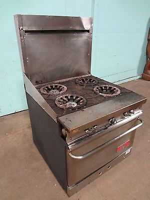 Franklin Chef Commercial H.d. Nat.gas 4 Burners Stove Range Woven Casters
