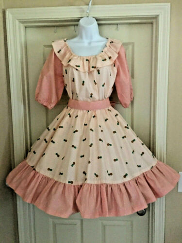 4-Piece Pineapple Print Square Dance Outfit Coordinating White Polka Dot, Peach