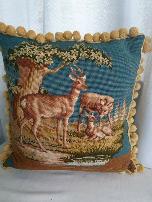 Stunning antique needlework  woolwork deer beautiful condition