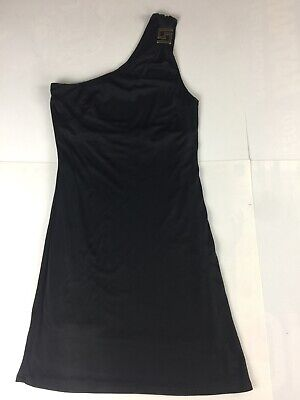 Versace Jeans Couture One Shoulder Dress IT 42 US Size 6 Small Black Mini