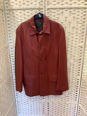 Holland And Holland / London Mans Real Leather Jacket Size Meduim Burnt Tan