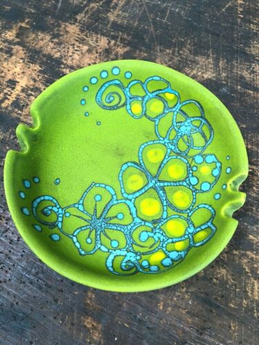 Vintage SASCHA BRASTOFF Mid-Century GREEN CERAMIC Ash Tray ART POTTERY Dish MCM