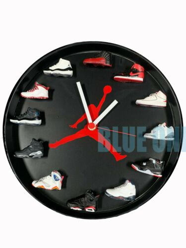 "New Handcrafted 12"" 3D Black Jordan Sneakers clock OFF OW nike supreme fieg"