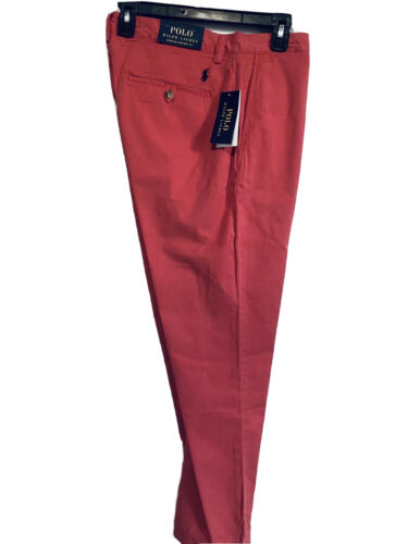Polo Ralph Lauren Mens The Polo Chino Pants 36×32 Red Stretch Straight Fit NWT Clothing, Shoes & Accessories