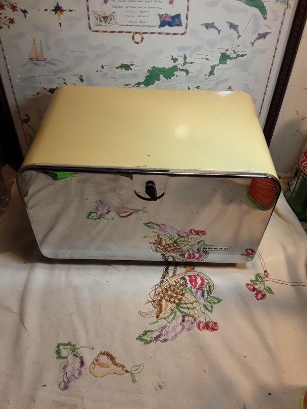 Vintage Yellow & Chrome Bread Box With Shelf & Cutting Board